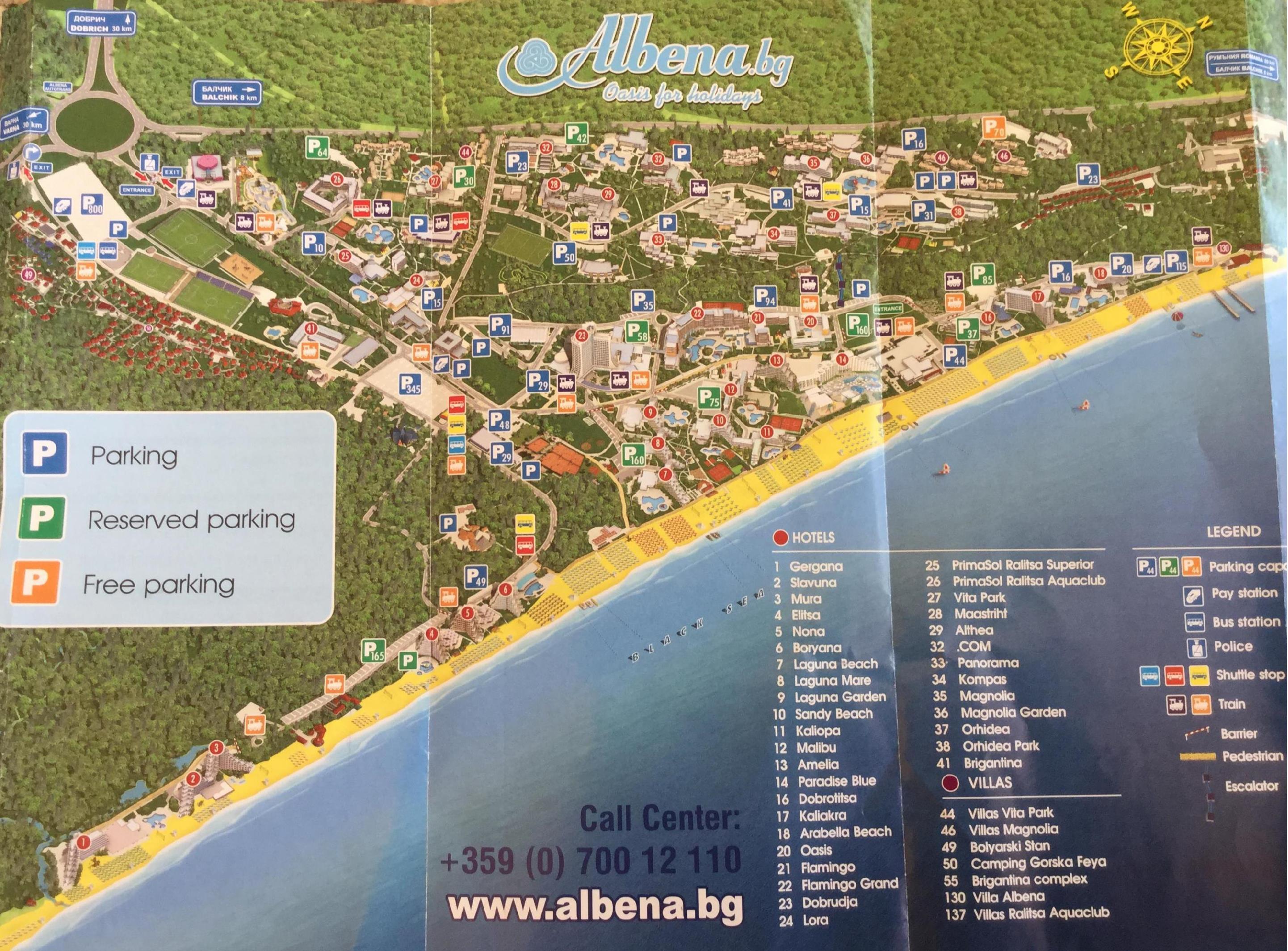 Mapa Albeny - parkingi